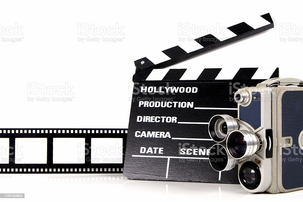 Movies director clip reel old fashioned camera stock photo