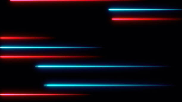 Moving abstract neon lines in space, 3d rendering - foto stock