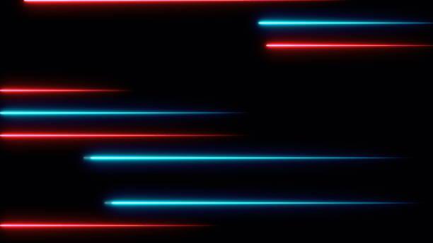 移動抽象的霓虹燈線在空間, 3d 渲染 - 外型 個照片及圖片檔