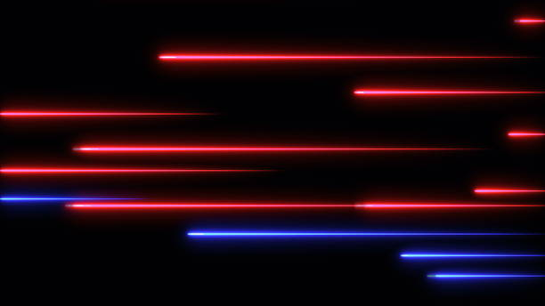 Moving abstract neon lines in space, 3d rendering stock photo