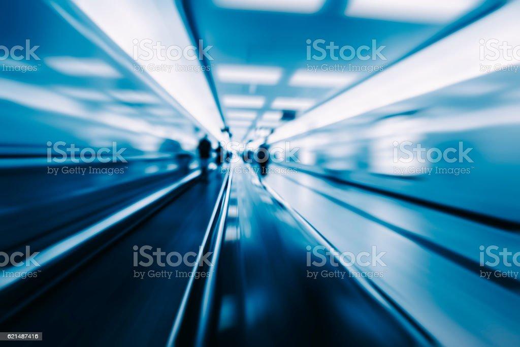 Moving blur travolator in airport photo libre de droits