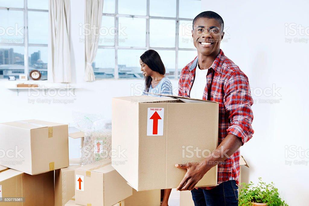 moving boxes couple stock photo