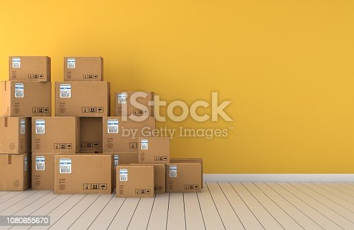 move into the new house. yellow wall, cardboard