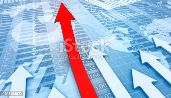 1014851396 istock photo Moving business arrows shows business success 1048183922