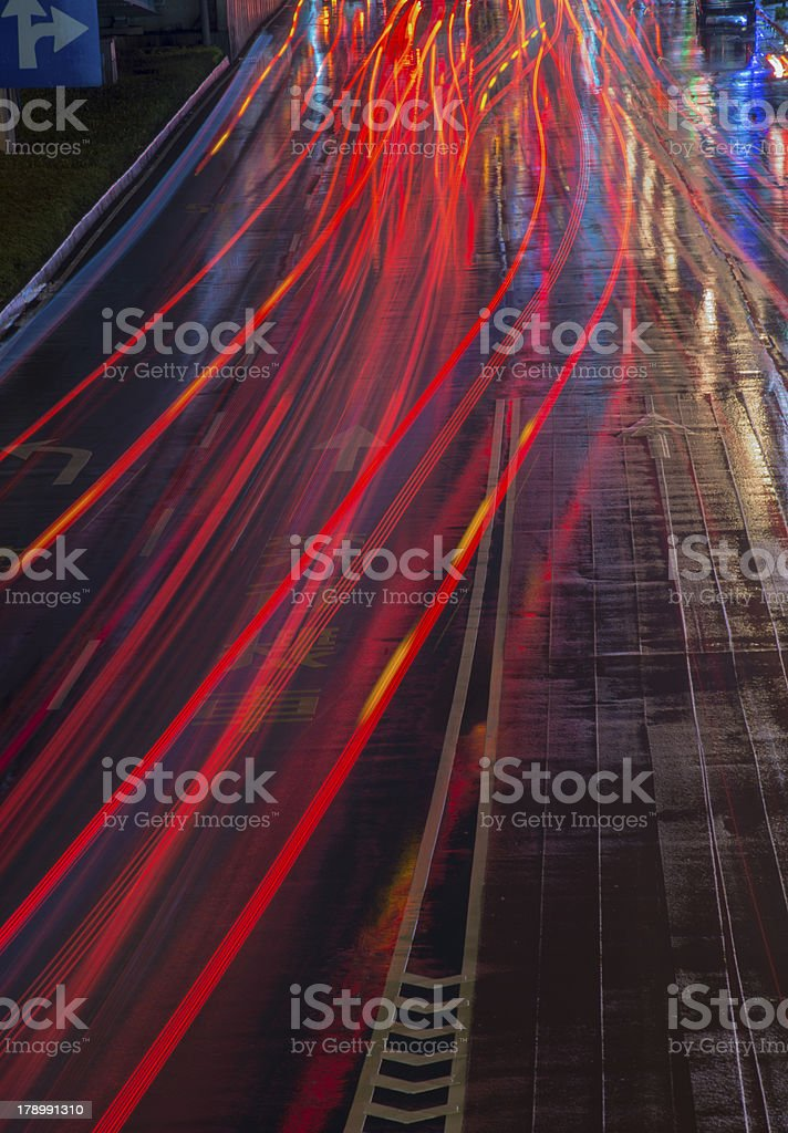 moving car with blur light  at sunset royalty-free stock photo