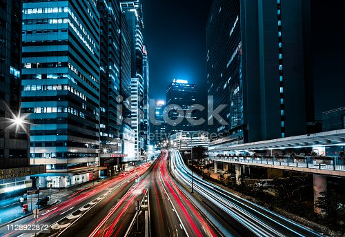 860696690 istock photo Moving car with blur light through city at night 1128922872