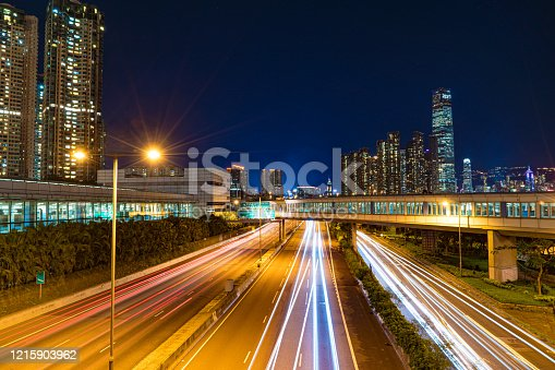 860696690 istock photo Moving car with blur light through city at night 1215903962