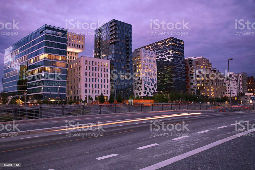 moving car with blur light through Dronning Eufemias stock photo