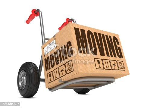 istock Moving - Cardboard Box on Hand Truck. 460054327