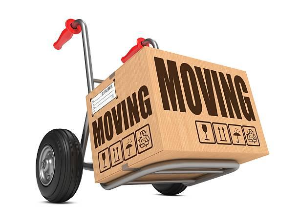 Moving-Pappkarton auf Hand-Lkw. – Foto