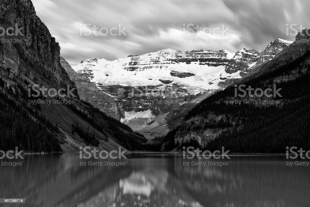 Moving clouds over Mount Victoria at Lake Louise stock photo