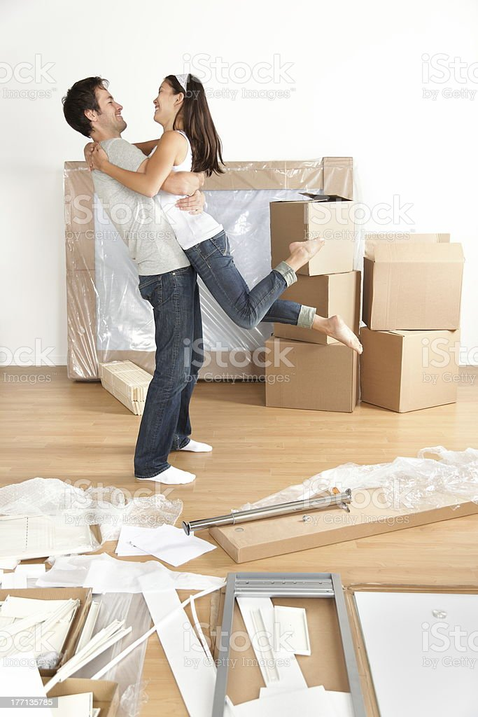 Moving couple happy royalty-free stock photo