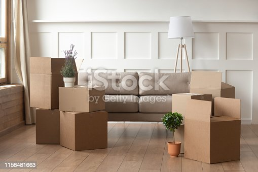 istock Moving day concept, cardboard boxes in modern house living room 1158481663