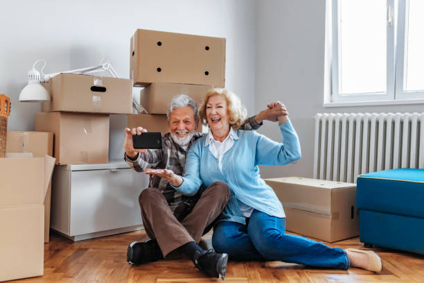 Moving day selfies stock photo