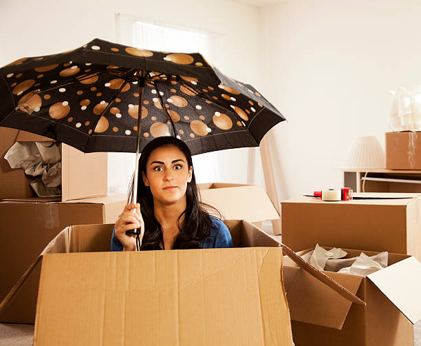 Moving Day with a Chance of Rain stock photo
