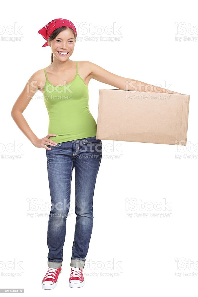 Moving day woman isolated stock photo