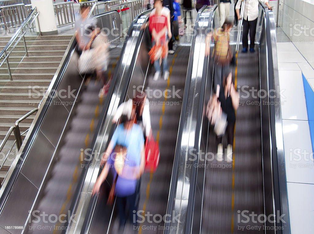 Moving escalator stock photo