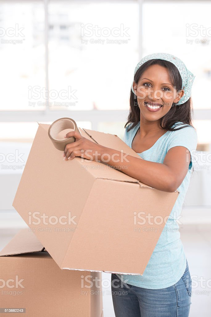 Moving home woman. stock photo
