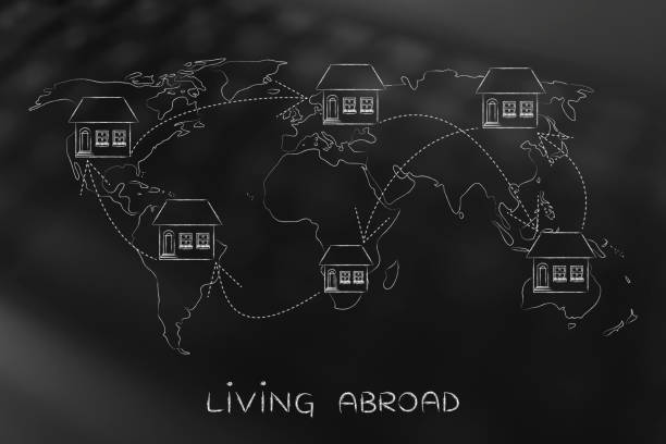 moving house across the world, expat life stock photo
