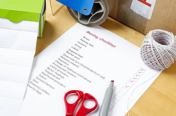 moving house-checkliste - umzug checkliste stock-fotos und bilder