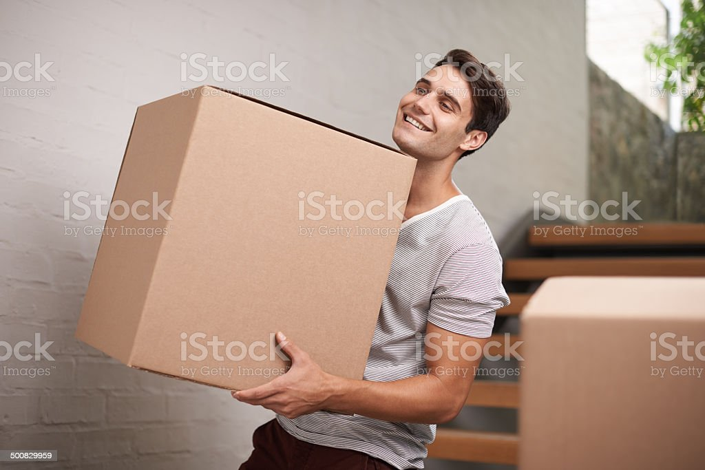 Moving house is exciting stock photo
