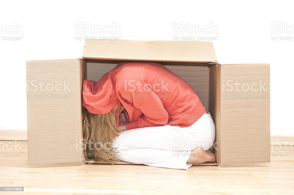 moving house - woman in cardboard Frau im Umzugskarton stock photo