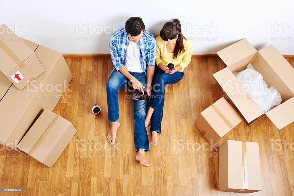 moving in couple stock photo