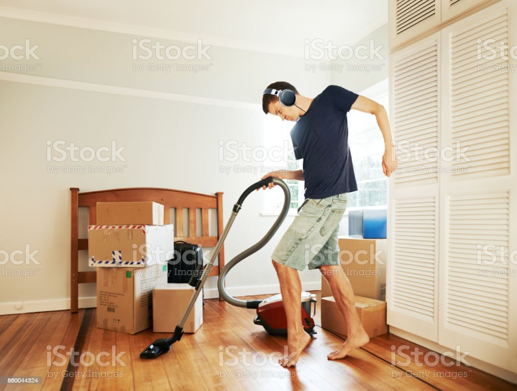 Moving in got him in such a mood! stock photo