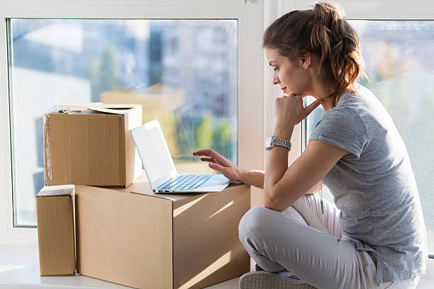 Moving in the new apartment stock photo