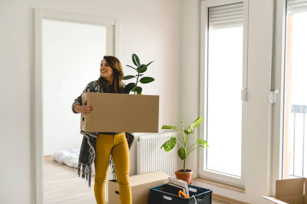 Moving into a new apartment stock photo