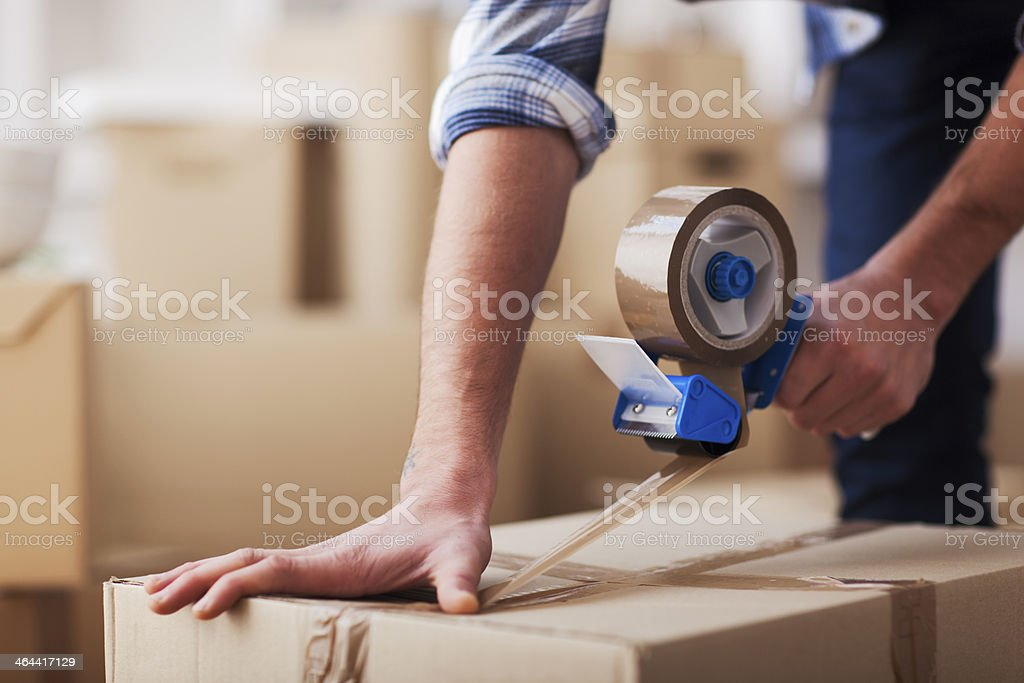 Moving into a new home. stock photo