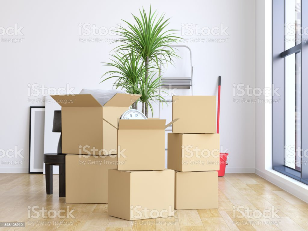 Moving into a new home stock photo