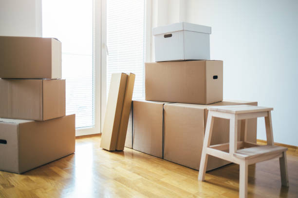 Moving into a new house stock photo