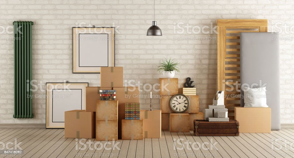 Moving into new house stock photo