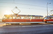 Red tram in Prague in the morning