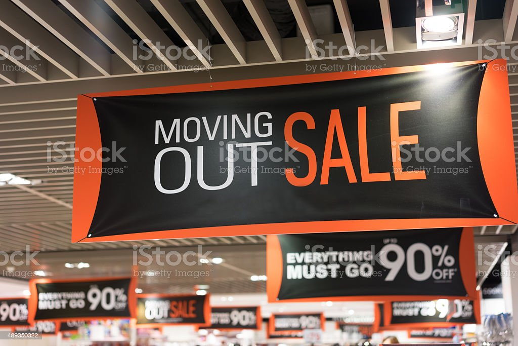Moving Out Sale stock photo