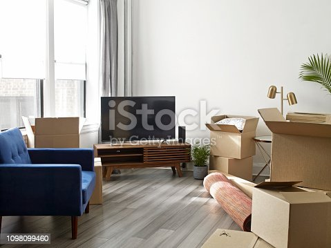 Moving concept with furnitures and cardboard boxes