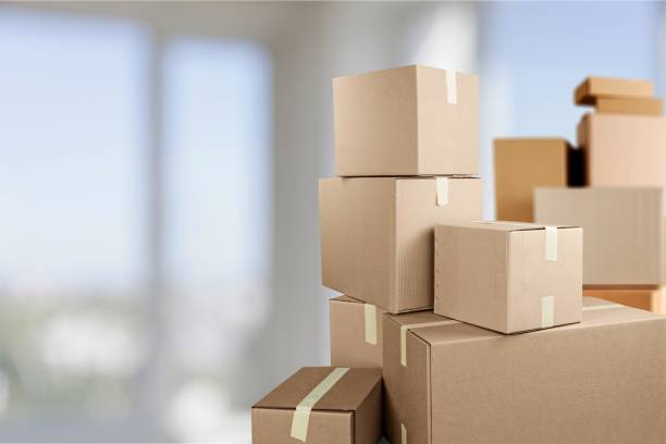 Moving. Cardboard boxes in room, move out concept physical activity stock pictures, royalty-free photos & images