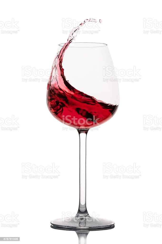 moving red wine glass isolated on white background stock photo