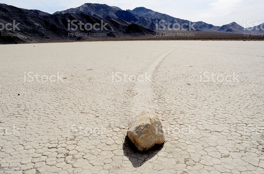 moving rocks in death valley royalty-free stock photo