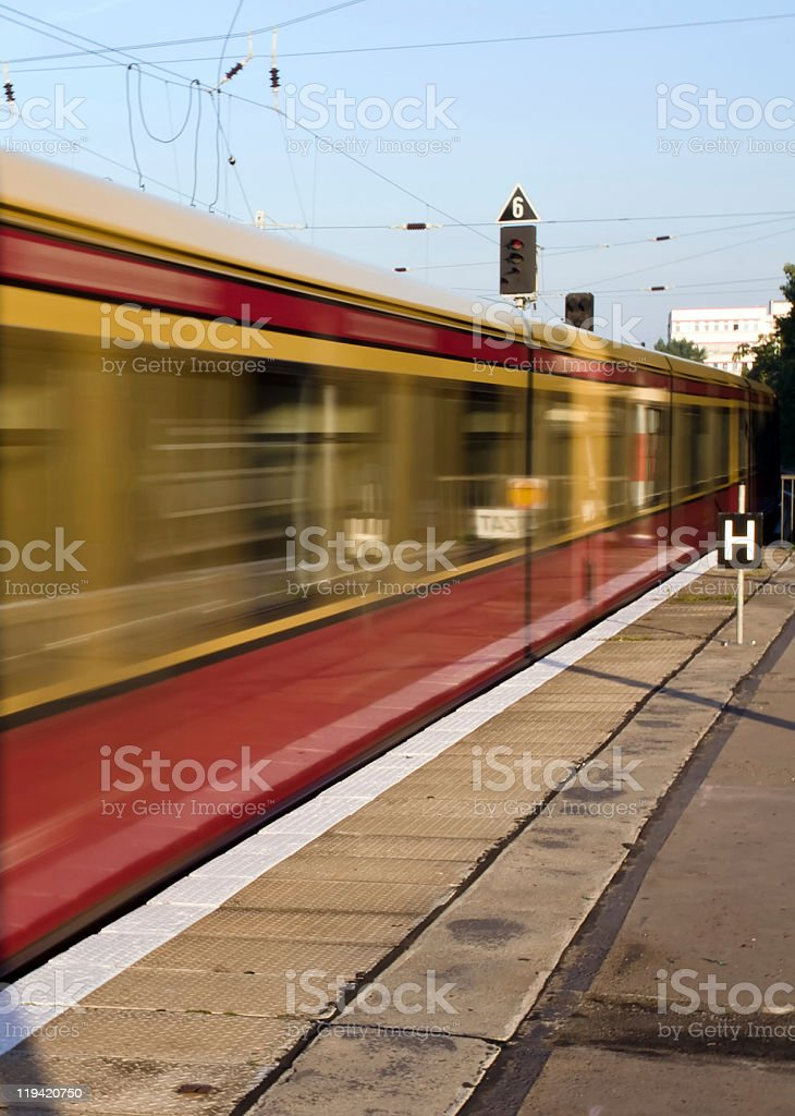 Moving S-Bahn in Berlin stock photo