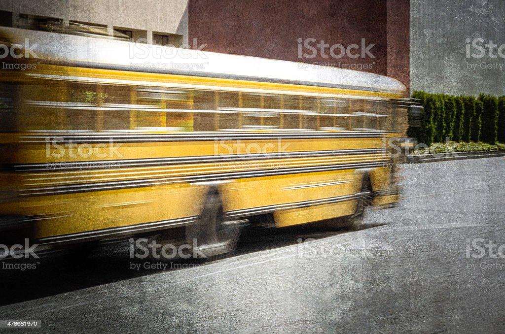Moving School Bus stock photo