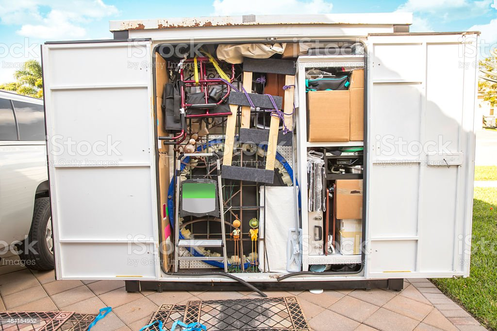 Moving Series: Large portable moving container completely packed royalty-free stock photo