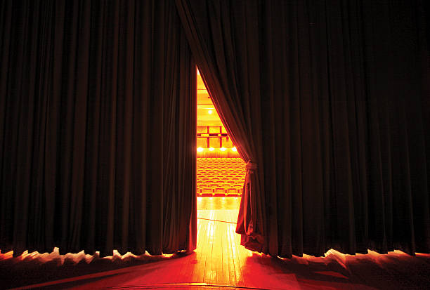 moving stage curtains - curtain stock pictures, royalty-free photos & images