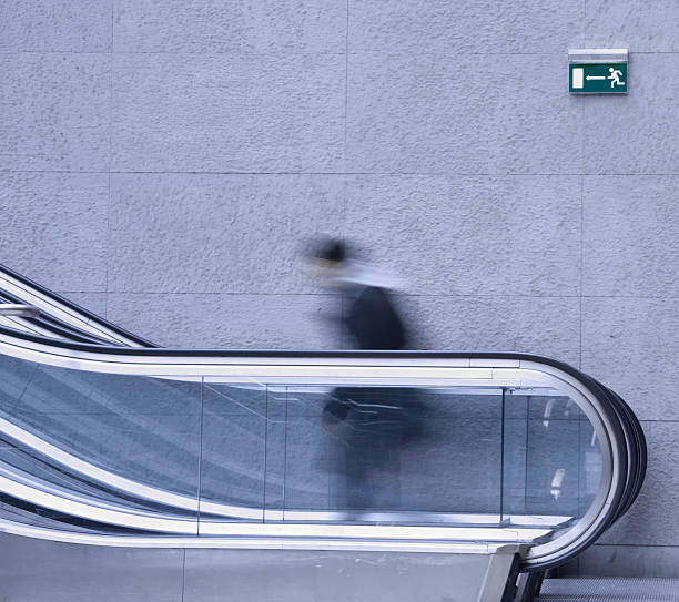 moving staircase stock photo