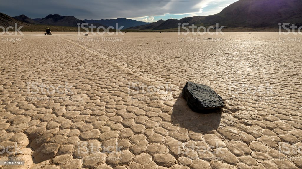 Moving stone in the desert of Death Valley national park, California. stock photo