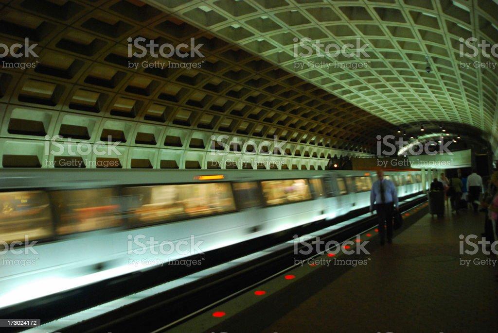Moving Subway Train, Washington DC stock photo