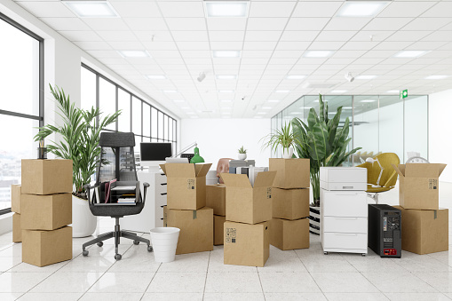 Moving To New Office With Chairs, Cardboard Boxes, Plants, Computers And Other Office Equipments.