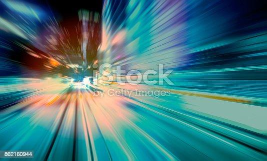 istock moving traffic light trails at night 862160944