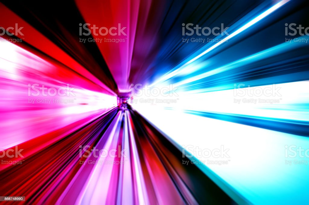 moving traffic light trails at night stock photo